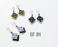 KIT bijoux : 4 paires Boucles d'oreilles papier renforcé