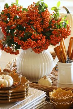 Autumn Tablescape / Thanksgiving Table / Fall Decor / - StoneGable: Harvest Buffet Love the berries in cream vase--Heck I love autumn berries in anything! Table Halloween, Fall Vignettes, Kitchen Vignettes, Kitchen Tables, Autumn Decorating, Centerpieces, Table Decorations, Harvest Decorations, Fall Table