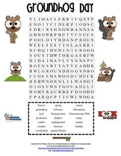 Groundhog Day Word Search - Pinned by @PediaStaff – Please Visit http://ht.ly/63sNt for all our pediatric therapy pins