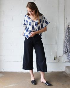 our kara kimono top (paired with our Ava high waist cropped pant!) is now available in this beautiful cotton ikat pattern. hand woven in India and made in the USA. now online and in store. www.esbyapparel.com