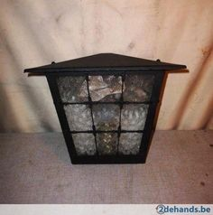 Prachtige Retro Lantaarn-Lamp in metaal en glas - Te koop