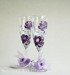Purple Wedding Hand Painted Champagne Glasses set of 2 Swarovski Crystals