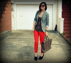 Blazer, simple pair of slacks with a basic top (button-up, t-shirt, blouse, etc.), throw on a blazer and feel sophisticated and chic.