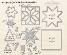 Quilt Builder Framelit sizes shared by Dawn Olchefske #dostamping #stampinup #framelits #thinlits #bigshot