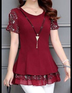 Round Neck Printed Layered Wine Red Blouse – Plus Size Fashion Red Blouses, Shirt Blouses, Mode Style, Sewing Clothes, Dress Patterns, African Fashion, Blouse Designs, Designer Dresses, Short Dresses