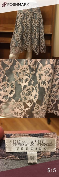White & Wood Ventilo Lace skirt Beautiful lace skirt in excellent condition! Grey jersey liner makes this skirt a LOT comfier than it looks. Skirts