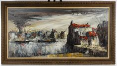 Lot 298: Unknown Artist (European, 20th Century) Oil on Canvas; c.1960, illegibly signed upper right, depicting a harbor scene with buildings and a possible fire; possibly Dutch