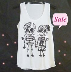 Image of Skeleton tank top skull lovers print Mexican skull shirt XS X M L women tops