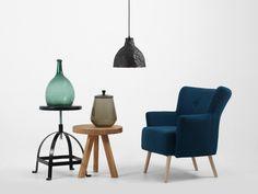 Modern, industrial lamp and comfortable armchair. Modern Industrial, Armchair, Dining Chairs, Lighting, Furniture, Black, Home Decor, Sofa Chair, Single Sofa