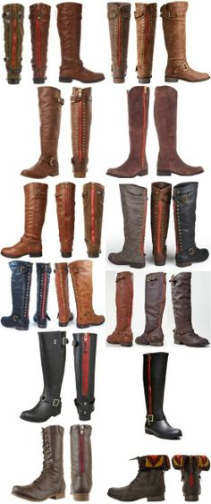 More boots with red zippers: Steve Madden Brown Riding Boots, Cactuss, Lynet, Ruse, Zuzu, Brinley Co., Montage83, Outlaw 81, Tsunami, Litening, Geirard Mid Calf Boot and Chevie Ankle Boot