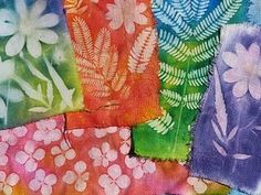 Crafternoon Solar Print Fabric Dropps - Remove The Solar Print Fabric From Its Packaging Or Paint A Clean White Fabric With The Light Sensitive Dye Indoors And Or Out Of Direct Sunlight Place Your Chosen Materials Carefull Shibori, Fabric Painting, Fabric Art, Fabric Crafts, Sewing Crafts, Land Art, Solar Paper, Sun Prints, Waldorf Crafts
