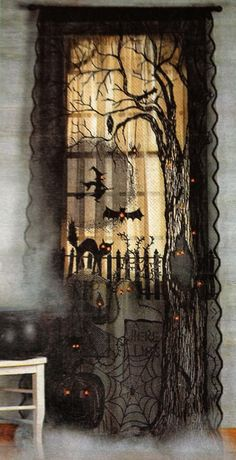 Spooky Lighted Lace Curtain Panel Prop Halloween NEW Haunted House Decor Retro Halloween, Fröhliches Halloween, Halloween Wishes, Adornos Halloween, Holidays Halloween, Porch Ideas For Halloween, Halloween Living Room, Rustic Halloween, Halloween Kitchen
