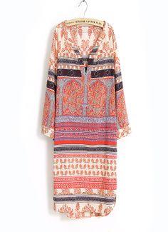 Retro ethnic style printing V-neck chiffon dress