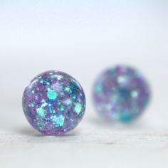 globe earrings in periwinkle blue sparkles - 8mm - galaxy sparkle stud earrings. via Etsy.  tinygalaxies