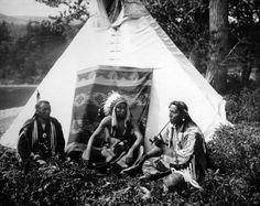 Blackfoot Chiefs Seated Outside of Teepee JTV000068 | Native Americans | JT Vintage