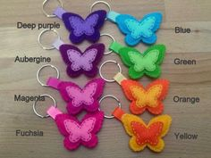 Butterfly keychain Felt keychain with butterfly charm from DusiCrafts Felt Crafts Patterns, Felt Crafts Diy, Felt Diy, Crafts To Sell, Fabric Crafts, Sewing Crafts, Crafts For Kids, Butterfly Felt, Butterfly Crafts