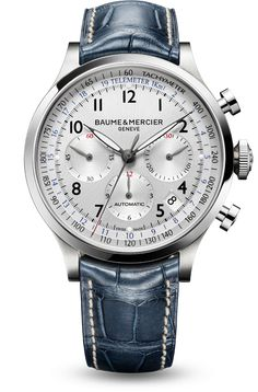 Discover the Capeland 10063 automatic chronograph watch for men,  with silver-colored dial and blue alligator leather strap. Designed by Baume et Mercier, Swiss Watch Maker.