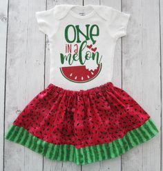 Watermelon First Birthday Outfit one in a melon girl