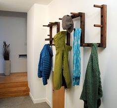 Walnut coat rack/tray, perfect for entries - pretty!