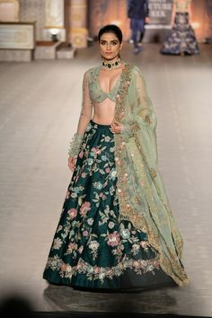 Dark green floral embroidered lehenga with light green blouse and dupatta by Shyamal Bhumika Lehnga Dress, Nikkah Dress, Lehenga Choli, Lehenga Blouse, Indian Wedding Outfits, Bridal Outfits, Indian Outfits, Wedding Dresses, Wedding Lehenga Designs