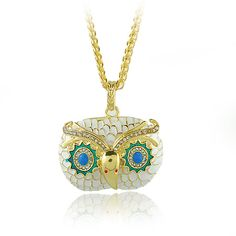 Cute Owl Fashion Necklace - Gold & White