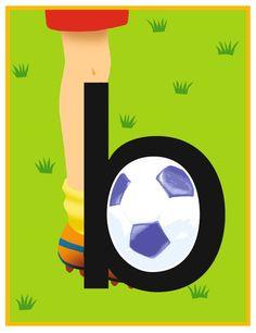 De b ziet eruit als een been dat tegen een bal schopt. Eerst komt het been, dan de bal. De kinderen kunnen hierbij het gebaar maken van een gestrekte linkerhand (het been/het stokje van de b) en hun rechterhand er als rondje tegenaan houden (de bal/het rondje van de b).