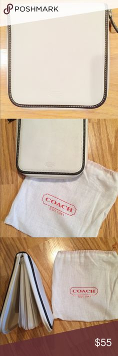"Coach CD DVD Holder 🎧 COACH Mini Signature CD / DVD case. Ivory/Cream, zip around close, lined and COACH embossed. Stores 24 discs (12 double-sided), see-through slip inserts. Measures 6 x 6"". Coach Other"