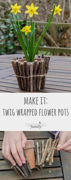 How to make twig-wrapped flower pots - Growing Family - - How to make your own twig wrapped flower pots - a simple and fun nature activity for children, great for a homemade gift too! Twig Crafts, Nature Crafts, Garden Crafts, Easy Crafts, Crafts For Kids, Gift Crafts, Nature Nature, Summer Crafts, Holiday Crafts
