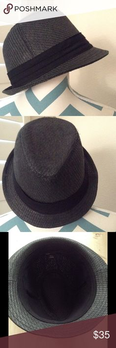BCBG MaxAzria  - Panama /Sun-Shade Hat BCBG MaxAzria - Charcoal grey  straw panama hat. Size: Large,59cm. Retail $68.  Excellent condition. Worn once while traveling in the airport, during a layover in Honolulu. Then as we got to Kauai on the drive to our hotel. (Worn less than 2hrs total to hide my overnight flight hair ). 3rd image shows the inside of the hat. Clean inside, worn without makeup or hair product.  Extremely cute.... But not on me. I buy too many hats- then hate how I look in…