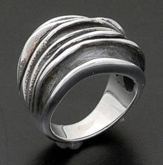 Zina - Oxidized Sterling Silver Waves Ring