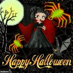 Halloween Betty w/neon spiders Betty Boop Halloween, Halloween Art, Happy Halloween, Sweet Betty, Betty Boop Cartoon, Halloween Greetings, Happy Birthday Wishes, Female Art, Art Images