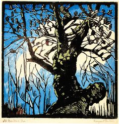 """""""The Old Banksia Tree"""" in 1939 by Margaret Preston. Relief woodcut, printed in black ink, from one block; hand-coloured"""