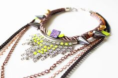 Abracadebra, Neon Statement Necklace, with rhinestones, rope, studs and draping chains, OOAK costume jewelry