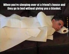 When your sleeping over at a friends