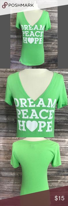 Victorias Secret PINK Dream Peach Hope Top Size Sm Victorias Secret PINK Dream Peach Hope Top Size Small Lime Green V Neck Tee. Measurements: (in inches) Underarm to underarm: 15 Length: 27  Good, gently used condition PINK Tops Tees - Short Sleeve
