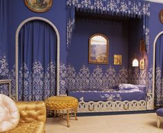 """Bedroom of Jeanne Lanvin reproduced by the Maison Lesage, designed by Armand Rateau.  I actually met the 52 embroiders who created this incredible reproduction in India and developed the semi-mechanical technique called «Cornely» to make it. Jean-François Lesage, grand-son of the creator of Maison Lesage, has developed workshops in India for interior decoration. It is a great example of technique at the service of a great historical """"couturière"""" of the 1920's."""