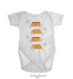Dachshund Hotdog Design  Our Dachshund baby clothes make a great gender neutral baby gift. Cute for both baby boys and baby girls, these little