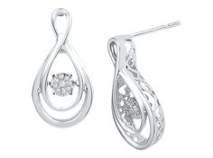1/10 CT. T.W. Round Diamond Miracle Set Pear Shaped Fashion Earrings in Sterling Silver (IJ-I2-I3)