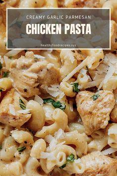 Best & healthy recipes of Instant Pot Creamy Garlic Parmesan Chicken Pasta Baked Chicken Pasta Recipes, Pasta Recipes Indian, Easy Healthy Pasta Recipes, Pasta Recipes For Kids, Creamy Pasta Recipes, Vegetarian Pasta Recipes, Pasta Dinner Recipes, Yummy Pasta Recipes, Spicy Pasta