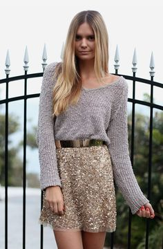 knit + sequin skirt on Tuula Vintage