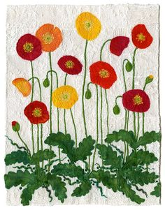 https://flic.kr/p/ewVVj | Icelandic Poppies | Fabric art collage with machine and hand embroidery, sewing, yarns and threads.   SOLD, private collection. www.chursinoff.com/kirsten