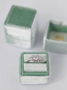 Sage Green small velvet ring with separate lid made from limited edition velvet.