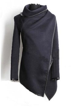 Dark Blue Irregular Long Sleeves Wool Outerwear