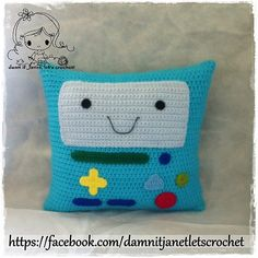 Ravelry: BMO Pillow from Adventure Time pattern by Janet Carrillo Adventure Time Crochet, Adventure Time Crafts, Crochet Cushions, Crochet Pillow, Blanket Crochet, Crochet Designs, Crochet Patterns, Afghan Patterns, Square Patterns