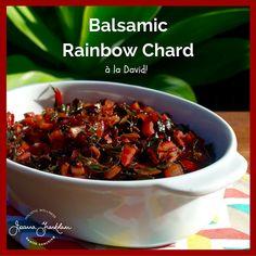 Balsamic Rainbow Chard - Swiss chard, happy fat (might reduce), red onion, garlic cloves, salt, balsamic vinegar