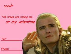 valentine card tumblr - Google Search Meme Valentines Cards, Nerdy Valentines, Valentines Gifts For Boyfriend, O Hobbit, Hobbit Funny, Fandom Jokes, Funny Note, Book Challenge, Legolas