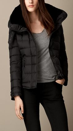 Down-Filled Puffer Jacket with Shearling Topcollar | Burberry
