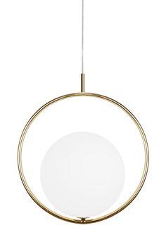 Pendant Saint  Material: Brass/White glassCable: Transparent with brass ceiling cup. High 45 cm Width 40 cm Deep 26 cm Lampholder G9 Max 42W L54/E55 Design: Patrick Hall