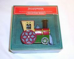 Hallmark-Ornament-Collector-039-s-Series-Tin-Locomotive-1986