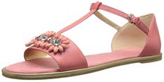 Nine West Women's Kurtancall Leather Dress Sandal, Pink/Orange, M US. Two-piece sandal featuring faux gemstones at toe strap and extended T-strap with adjustable buckle closure. Dress Sandals, Flat Sandals, T Strap, Clothing Items, Womens Flats, Nine West, Amazing Women, Just For You, Pink